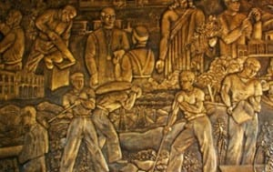 Costa Rican Art Museum bronze mural in the Golden Room