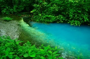 Rio Celeste transforms into a sky blue river from volcanic minerals in Costa Rica