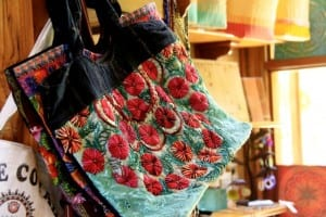 Hand-sewn bags from Guatemala are a lovely gift item in Pranamar Villas' gift shop