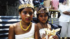 Children of the Chorotega indigenous tribe in Costa Rica