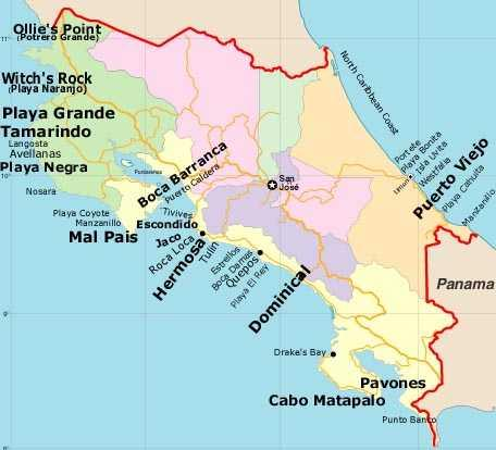 Mapa De Costa Rica Playas.Las 10 Mejores Playas Para Surfear En Costa Rica Tripatini
