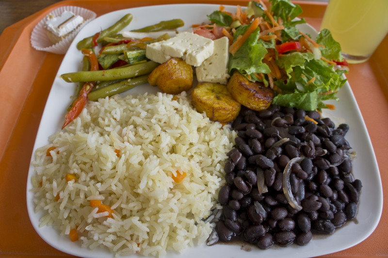 Costa Rica vegetarian casado (typical meal)