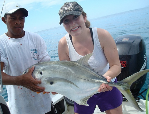 Playa Nicuesa guest with a Jack fish catch