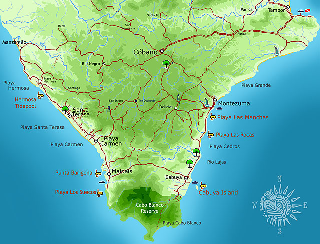 Map Southern Nicoya Peninsula Costa Rica