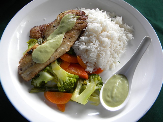 Hacienda Guachipelin restaurant grilled tilapia in avocado sauce