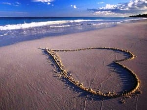 Valentine's heart in the sand