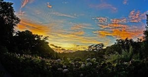 Sunset from El Establo Mountain hotel, photo credit elestablomonteverde.