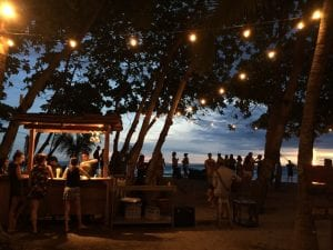 Tiki Bar at sunset. Pranamar Oceanfront Villas and Yoga Retreat.
