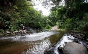Mountain biking tours at Hacienda Guachipelin.